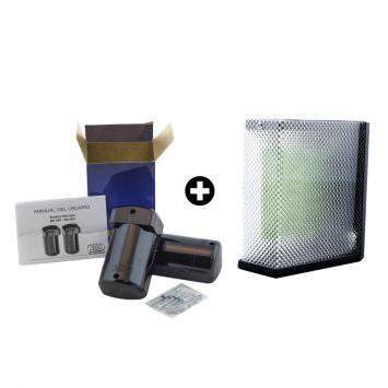 Kit- semaforo para garage led 220vca 12v c/sonido 4 + barrera infraroja exterior 30mts