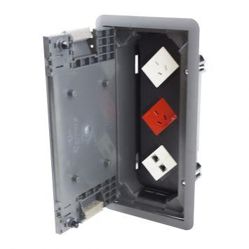Caja para piso gris con 1 toma rojo + 1 toma blanco + 1 te  blanco