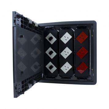 Caja para piso gris c/3 toma rojo + 3 toma blanco + 1 rj45 + 2 t.e blanco