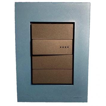 Llave armada  1 pulsador simple gris c/tapa azul completa bauhaus