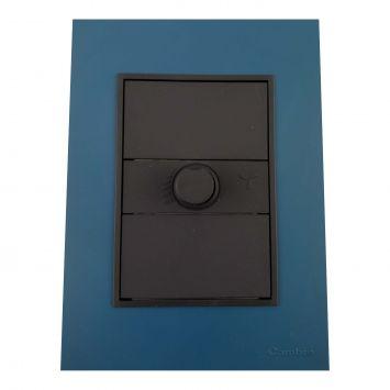 Llave armada  1 dimmer p/vent.de techo gris c/tapa azul completa bauhaus