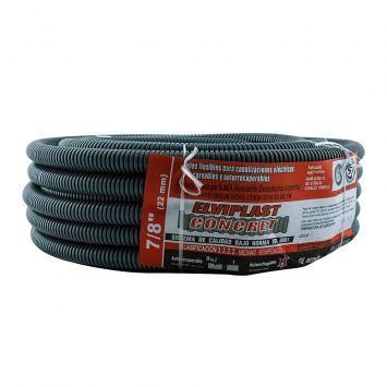 Caño corrugado pvc flexible reforzado ignifugo  7/8 p/hormigon gris