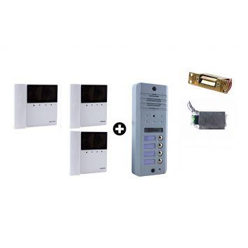 Portero electrico visor commax con frente 4 timbres + 3 monitores mon-43k + cerradura