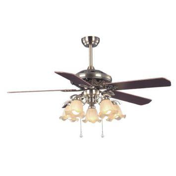 Ventilador de techo 60w 5 aspas 5 tulipas e27 enchapado madera - airmax-