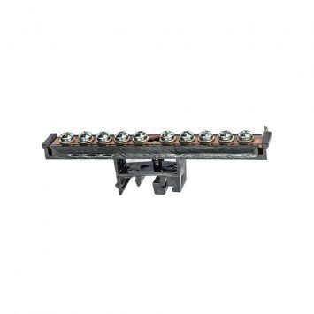 Bornera p/puesta a tierra aleacion cu p/riel din c/10 tornillos h/10mm
