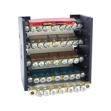 DISTRIBUIDOR ELECTRICO TETRAPOLAR PROFESIONAL 85X85MM 125A 1000V 4 BARRAS C/TORN. 3/16
