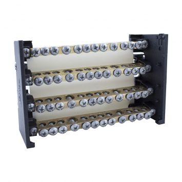 DISTRIBUIDOR ELECTRICO TETRAPOLAR PROFESIONAL 130X85MM 125A 1000V 4 BARRAS C/TORN. 3/16