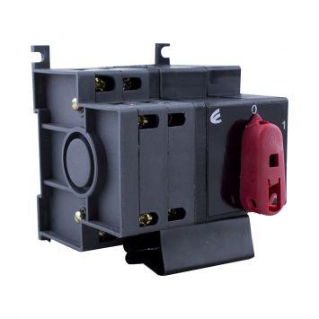 Interruptor  rotativo a levas 3 polos  + neutro 40a posicion.1-0-2  p/riel din  380v