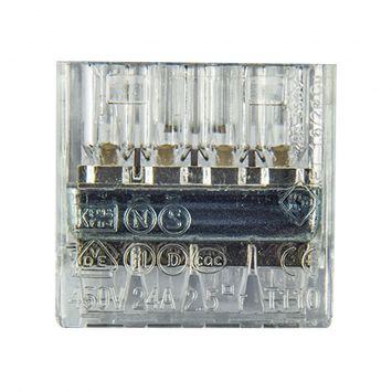 Conector empalme plastico 4 derivaciones p/cable  0.50 a 2.5mm  transparente -novedad-