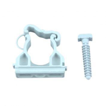 Grampa de fijacion ajustable pvc p/caño curvable en frio 22mm c/clip de seguridad gris