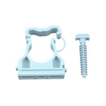 Grampa fijaciona justable pvc 32mm c/clip seguridad gris p/caños doblados en frío