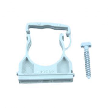 Grampa de fijacion ajustable pvc p/caño curvable en frio 40mm c/clip de seguridad gris