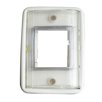 Tapa y bastidor estanca p/exterior  p/2 modulos transparente ip67  c/tapa p/caja 5x10