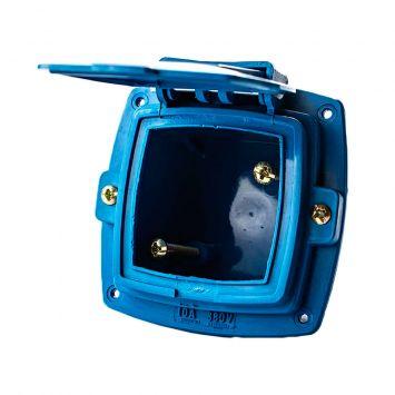 Caja capsulada industrial de tablero vacia p/bases de 16a c/tapa azul