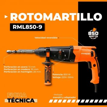 ROTOMARTILLO LUQSTOFF HORIZONTAL 850W 220V IMPACTO 3.2J CON MALETIN