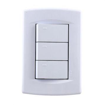 Llave de luz 3 puntos completa life blanco puro