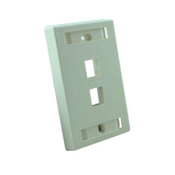 Tapa plastica wallplate de embutir p/2 jacks rj45 o rj11 categria 5 beige amp