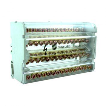 Bornera repartidora de carga tetrapolar 125a  250/450v  c/15 salidas p/riel din